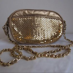 Gold Metal Mesh Crossbody Bag